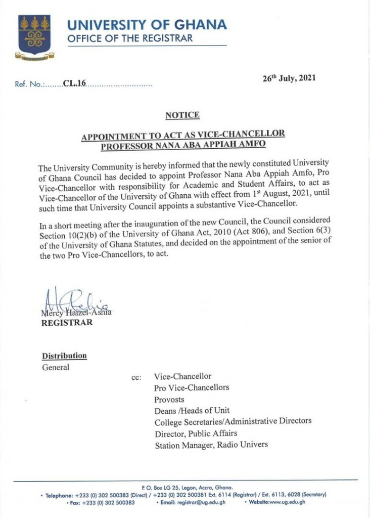 Prof. Nana Aba Appiah Amfo appointed Ag Vice-Chancellor of University of Ghana
